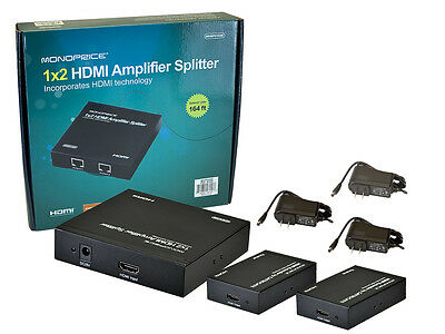 1x2 HDMI Splitter Adapter/Extender via Cat5e Cat6 up to 50m/164ft 1080p