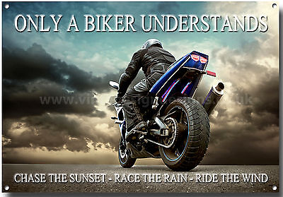 Large A3 Size Only A Biker Understands Enamelled Metal Sign.motorcycle Riding,