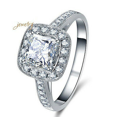Fashion 925 Silver Plated Clear Cubic Zirconia Ring for Women Size 6-10
