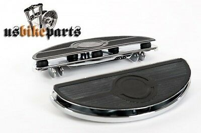 Oval floorboards footboards shaker for Harley Davidson and custom chrome rubber