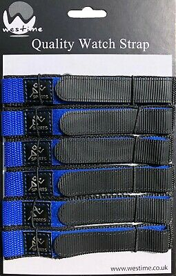 6 x Wholesale Job Lot Sports 20mm Blue Nylon Canvas Watch Straps