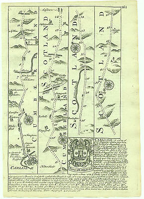 1720 Bowen Antique Road Map Carlisle Jedburgh Kelso Berwick