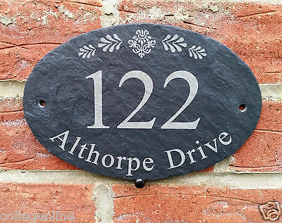 Personalised Natural Oval Slate House Name Door Gate Number Sign Plaque 10x15cm