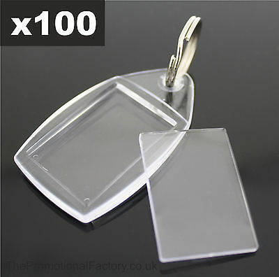 100x Clear Acrylic Plastic BLANK PHOTO KEYRINGS 24 x 35 mm Insert (Ref:P5)