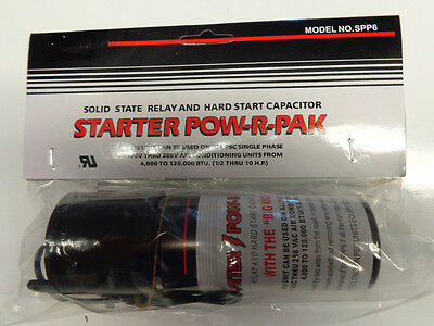Hard Start Kit SPP6 Capacitor Relay 1/2HP-10HP Increases  Torque 500% Pow-R-Pak