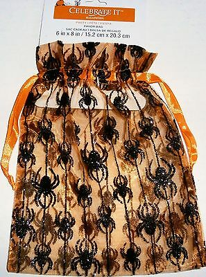 HALLOWEEN FAVOR BAG by CELEBRATE IT Orange With Spiders  Drawstring Closing