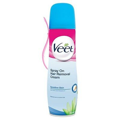 Veet Spray On Hair Removal Cream - Sensitive Skin, 150 ml, Sensitive Skin