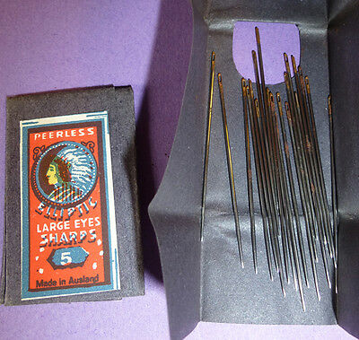 Vintage Pkt LARGE EYES Needles SHARPS size 5 - 38mm- Red Indian picture