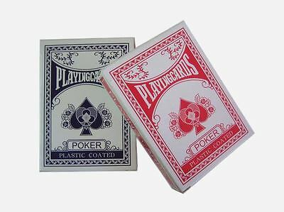 12 Decks of Professional Plastic Coated Playing Cards Poker Size - Red or Blue