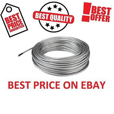 3mm HEAVY DUTY GALVANIZED STEEL WIRE ROPE METAL CABLE BEST PRICE CHOOSE LENGHT