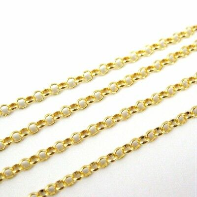 Gold Plated Sterling Silver Vermeil Chain, Bulk Wholesale Chain-2mm Rolo