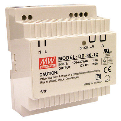 Mean Well DR-30-24 AC to DC DIN-Rail Power Supply 24 Volt 1.5 Amp 36 Watt