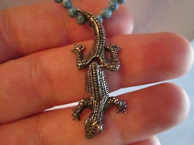 """Sterling Silver Gecko & Beaded Necklace - 18"""" Long - Nice - Tub Tk"""