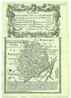 1720 Bowen Antique Map of Monmouthshire Road Map verso