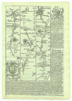 1720 Bowen Road Map Malmesbury Bristol Arms Colleges of Oxford University verso