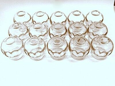 Glass Fire Cupping Cups with Finger Grips Imprinted Sold in Sets of 15 & 24