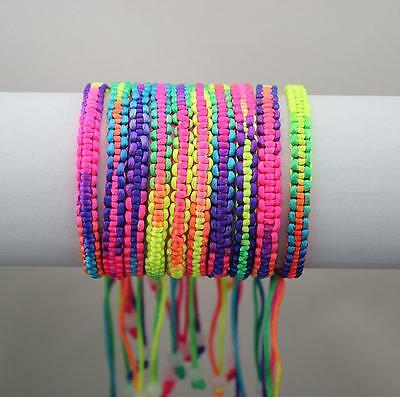 New 50pcs Colorful Rainbow Silky Macrame Hand-weave Friendship Bracelets Anklets