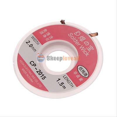 5 Ft 2.0 mm Desoldering Braid Solder Remover Copper Wick Spool Wire Cable Tool #