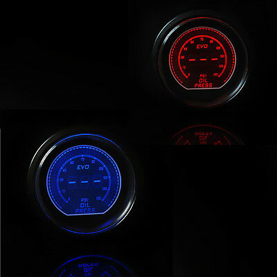 "CAR Vehicle 2"" 52mm LED OIL PRESSURE PRESS METER GAUGE BLUE or RED LED 2015"