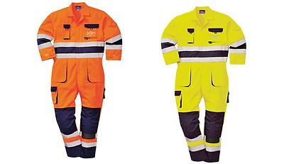 Hi Vis Coverall Portwest TX55 Texo Overall Knee Pad Pockets Adjustable Cuffs