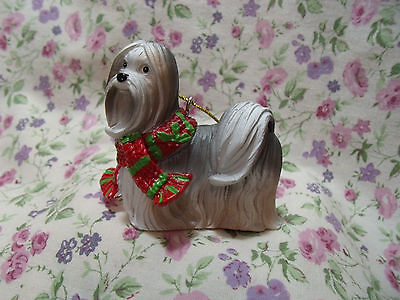 New Ganz Dog Shih Tzu Scarf Resin Ornament