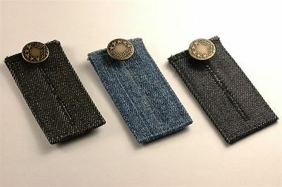 Denim Jean Waist Extender Set of 3 for Men or Women Gold Finished Metal Button