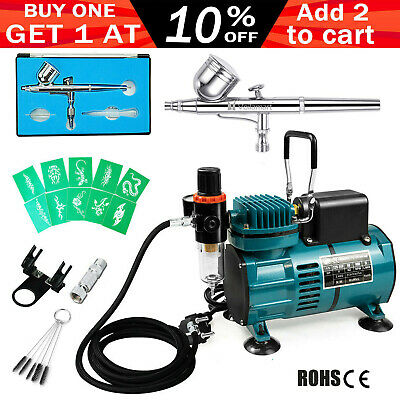 Voilamart Airbrush Compressor Kit Air Brush Hose Filter Stencils Nail Make Up