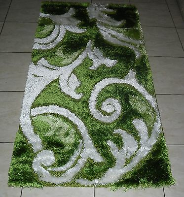 New Green Carved Modern Soft Shag Shaggy Hallway Runner Floor Rug 80X150Cm