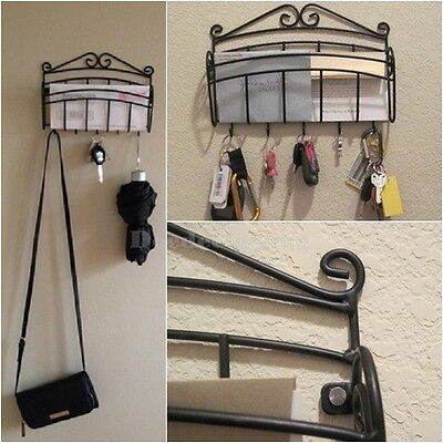 wall mount letter key mail rack storage organizer holder hanger hook black steel