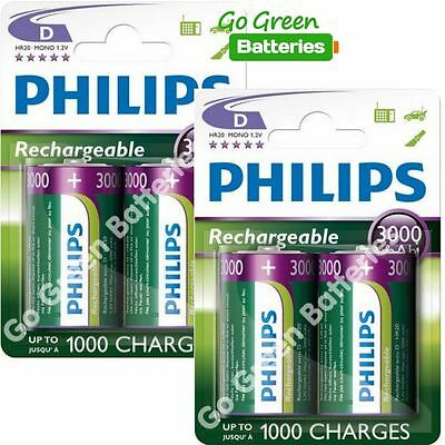 4 x Philips D Size 3000 mAh Rechargeable Batteries LR20 HR20 MONO NiMH