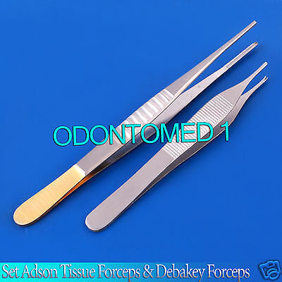 2 Pcs Set Adson Tissue Forceps & Debakey Forceps Surgical Instruments DS-651