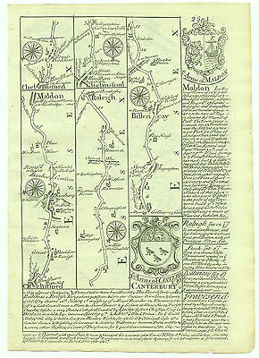 1720 Bowen Antique Road Map Chelmsford Maldon Rayleigh Dover etc.