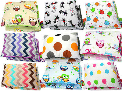 Baby Blanket Plus Pillow Minky Double Sided Quilt Soft Cot Crib Pram Buggy