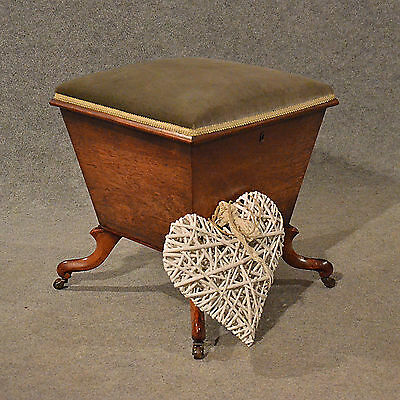 Antique Ottoman Stool Dressing Sewing Ladies Work Box Seat English Regency c1830