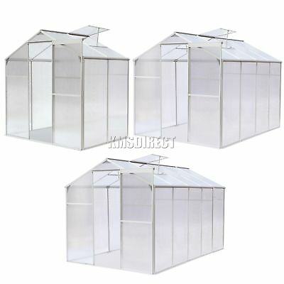 FoxHunter Silver Clear Polycarbonate Greenhouse Aluminium Free Base Slide Door