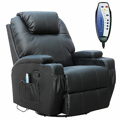 FoxHunter Black Bonded Leather Massage Cinema Recliner Sofa Chair Swivel Rocking
