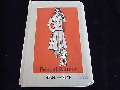 Vintage Printed Pattern Dress Pattern  # 4524 Size 16 1/2  New/Old Uncut