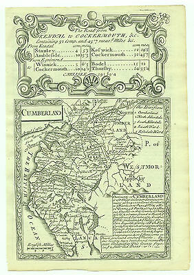 1720 Bowen Antique Map of Cumberland Road Map verso
