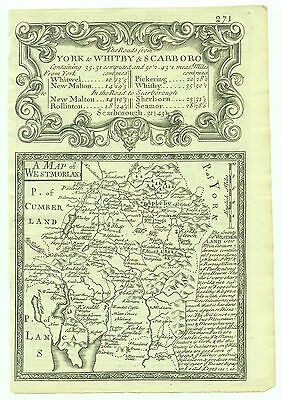 1720 Bowen Antique Map of Westmorland Road Map Yorkshire verso
