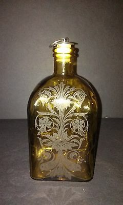 Vintage Amber Etched Glass Jar with Cork Top
