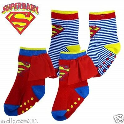 Baby Boy Licensed  Superbaby Superman Socks Striped Or With Cape