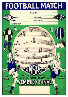 WBA V Sheffield Wednesday Cup final 1935 Poster, Wall art, Reproduction.