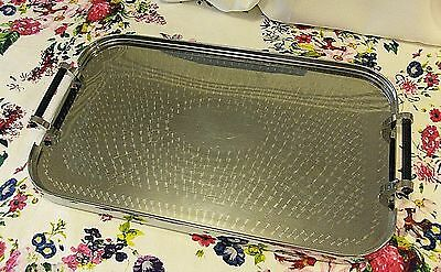 Vintage serving tray stainless steel WILES black handles retro machined top VGUC