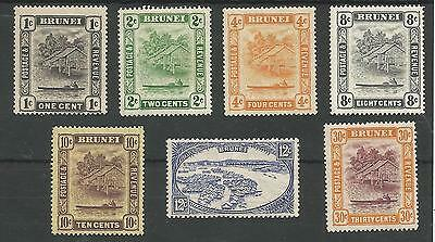 Brunei 1924-37 Gv Selection Of 7 Mounted Mint,see Scans Cat £89+