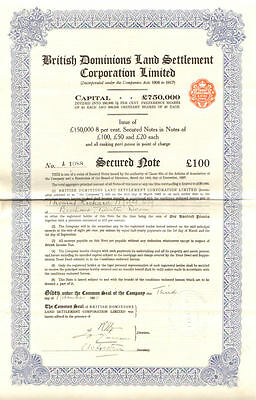 British Dominions Land Settlement Corporation Limited 1930 stock certificate