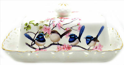 Divine Fine Bone China Blue Wren Butter Dish Australian Bird Series - Gift Boxed