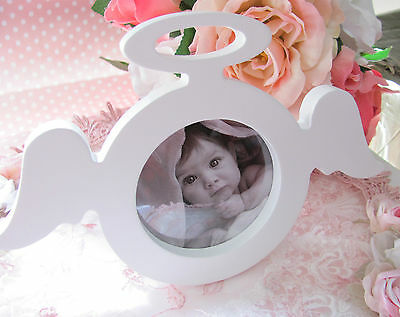 Baby Girl White MDF White Angel Shape Free Standing  Picture Frame