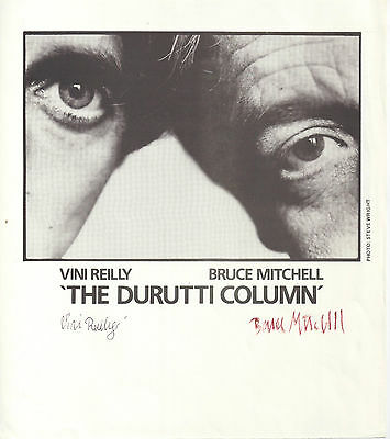 "Stunning Book Page (Coa) Signed ""ttm"" By Both Vini & Bruce Of The Durutti Column"