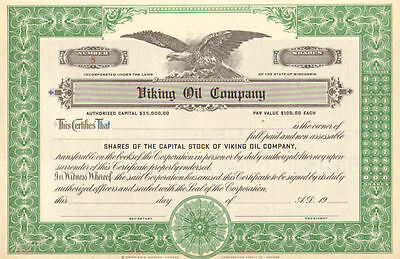 Viking Oil Company > Unissued Wisconsin stock certificate