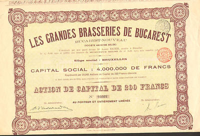 Large Bucharest Breweries   Romania stock certificate